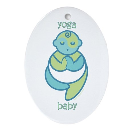 Yoga Baby : Blue & Green Oval Ornament