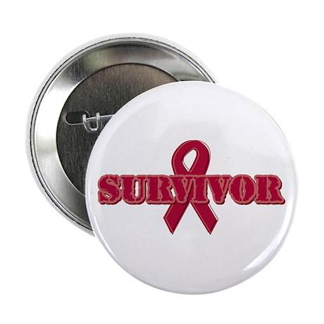 """Burgundy Ribbon Survivor 2.25"""" Button"""