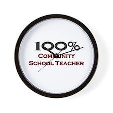 100 Percent Community School Teacher Wall Clock