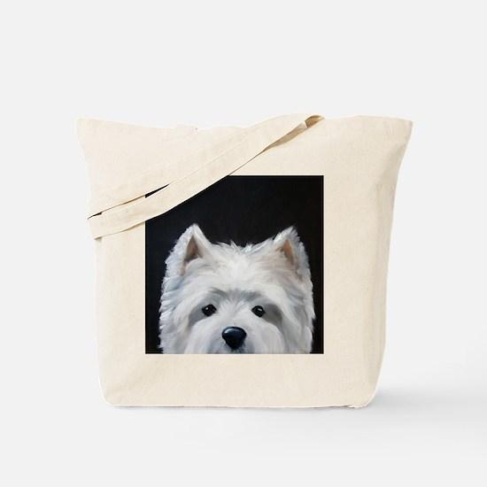 "WESTIE DOG ""Peek-a-boo"" Tote Bag"