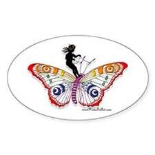 Fairy & the Butterfly Oval Decal