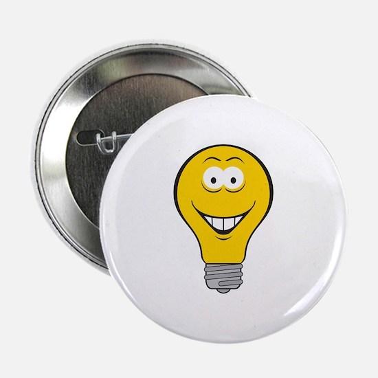 """Smiley Face Light Bulb 2.25"""" Button"""