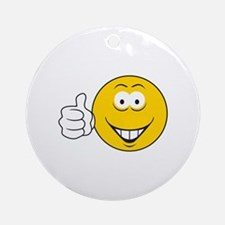 Thumbs Up Smiley Face Ornament (Round)