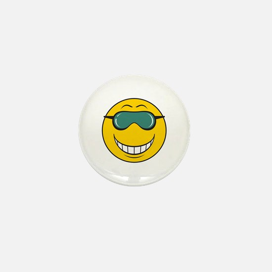 Cool Dude Smiley Face Mini Button