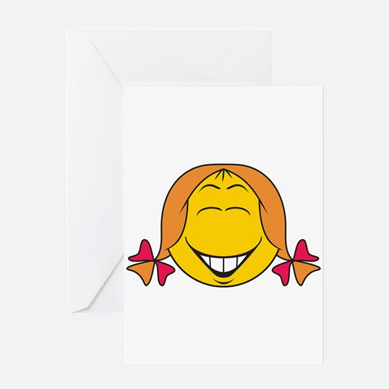 Cute Girl Smiley Face Greeting Card