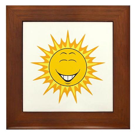 Sunshine Sun Smiley Face Framed Tile