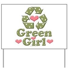 Green Girl Recycling Recycle Yard Sign