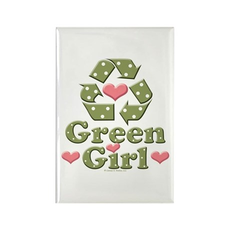 Green Girl Recycling Recycle Rectangle Magnet