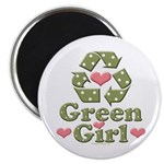 Green Girl Recycling Recycle Magnet