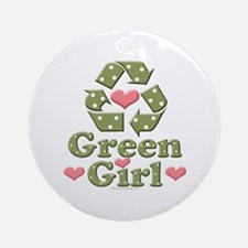 Green Girl Recycling Recycle Ornament (Round)