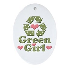 Green Girl Recycling Recycle Oval Ornament