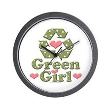 Green Girl Recycling Recycle Wall Clock