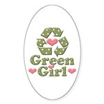 Green Girl Recycle Recycling Oval Sticker (50 pk)