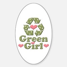 Green Girl Recycling Recycle Oval Decal