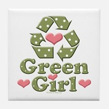 Green Girl Recycling Recycle Tile Coaster