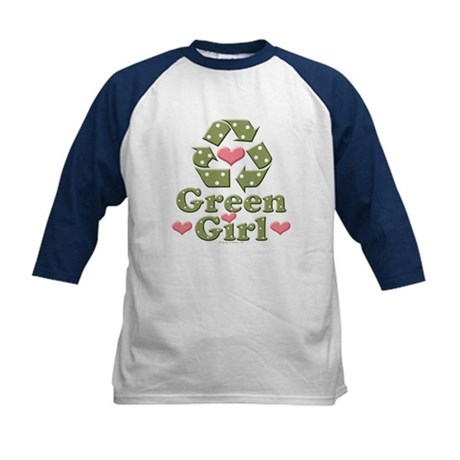 Green Girl Recycling Recycle Kids Baseball Jersey