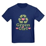 Green Girl Recycling Recycle Kids Dark T-Shirt