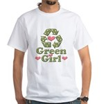 Green Girl Recycling Recycle White T-Shirt