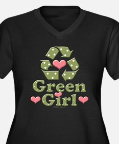 Green Girl Recycling Recycle Women's Plus Size V-N