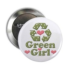 """Green Girl Recycling Recycle 2.25"""" Button"""