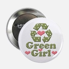"Green Girl Recycling Recycle 2.25"" Button"