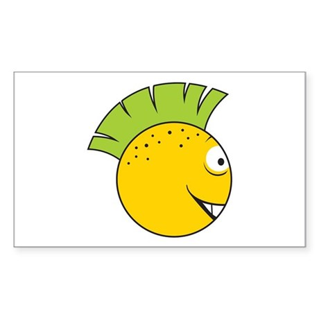 Green Mohawk Punk Smiley Face Rectangle Sticker
