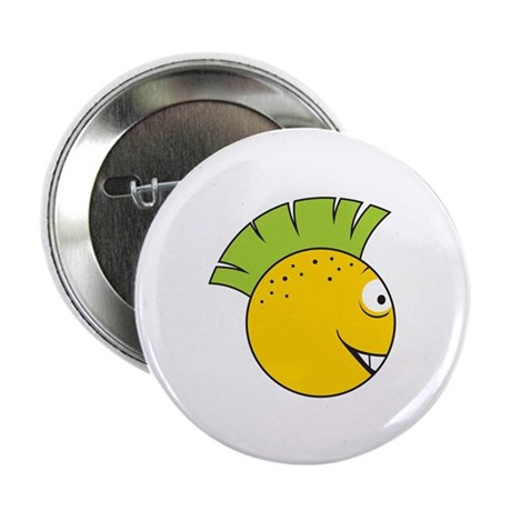 "Green Mohawk Punk Smiley Face 2.25"" Button (10 pac"