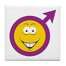 Male Symbol Smiley Face Tile Coaster