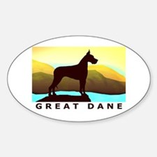 Great Dane By the Sea Oval Decal