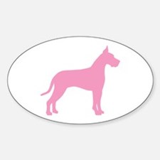 Pink Great Dane Oval Decal