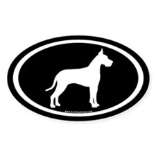 great dane oval (white on black) Oval Decal