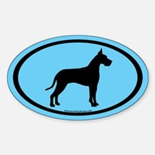 great dane oval (black on blue) Oval Decal