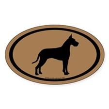 great dane oval (white on brown) Oval Decal