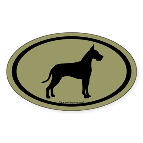 great dane oval (white on sage) Oval Sticker