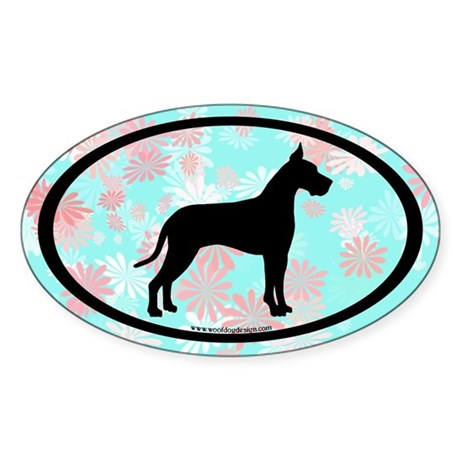 great dane oval (black on floral) Oval Sticker