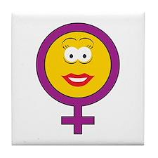 Female Symbol Smiley Face Tile Coaster