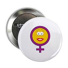 "Female Symbol Smiley Face 2.25"" Button"