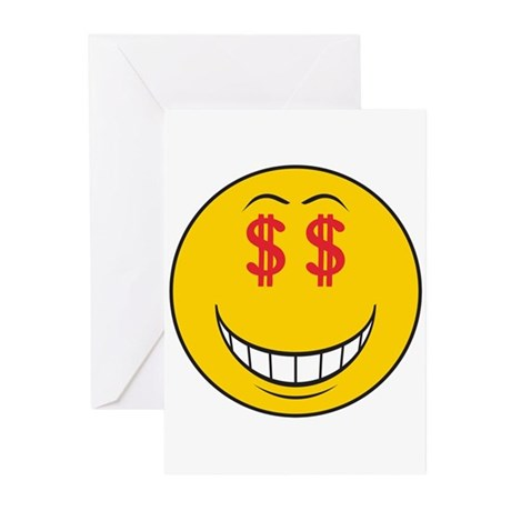 Money Eyes (Greedy) Smiley Face Greeting Cards (Pk