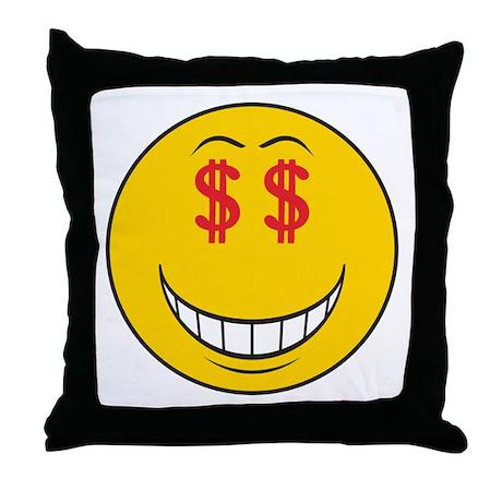 Money Eyes (Greedy) Smiley Face Throw Pillow