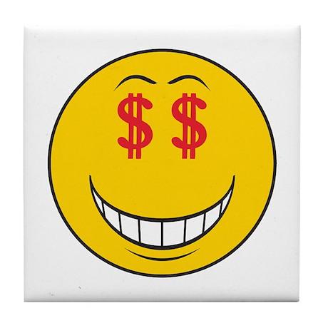 Money Eyes (Greedy) Smiley Face Tile Coaster