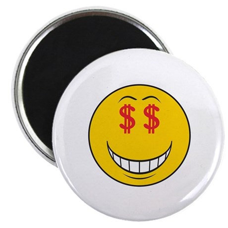 "Money Eyes (Greedy) Smiley Face 2.25"" Magnet (100"