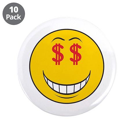 """Money Eyes (Greedy) Smiley Face 3.5"""" Button (10 pa"""