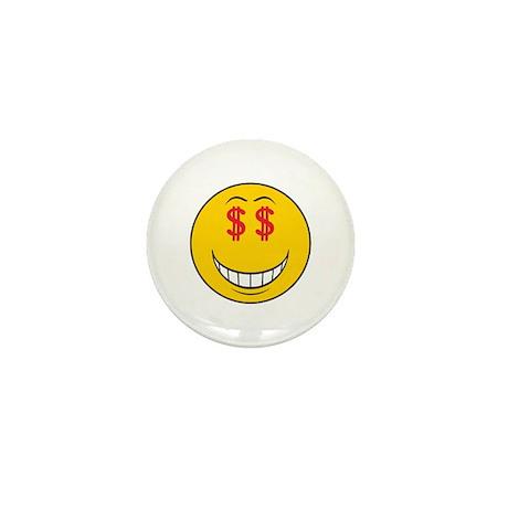 Money Eyes (Greedy) Smiley Face Mini Button (10 pa