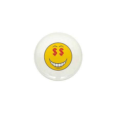 Money Eyes (Greedy) Smiley Face Mini Button