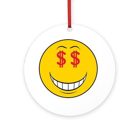 Money Eyes (Greedy) Smiley Face Ornament (Round)