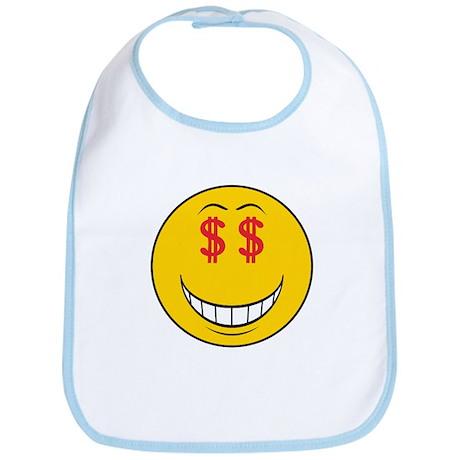 Money Eyes (Greedy) Smiley Face Bib