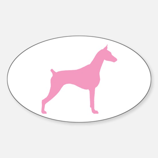 Pink Doberman Oval Decal