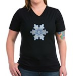 Flurry Snowflake I Women's V-Neck Dark T-Shirt