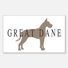 great dane greytones Rectangle Decal
