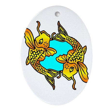 Traditional koi fish oval ornament by whitetiger llc for Koi fish ornament